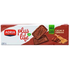 Biscoito Adria Integral Plus Life Cacau e cereais 130g