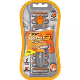 Aparelho de barbear comfort 3 Hybrid Bic 1 Aparelho e 6 Cartuchos