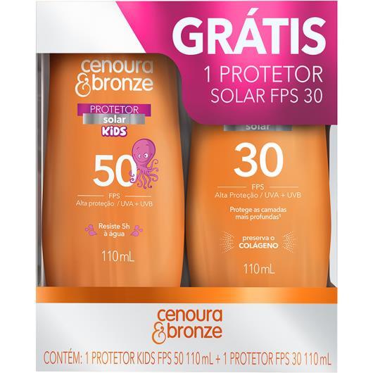 Protetor solar Kids FPS50 110ml grátis FPS30 110ml Cenoura&bronze - Imagem em destaque