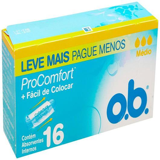Absorvente OB Interno ProComfort Médio Leve + Pague - 16 unids. - Imagem em destaque