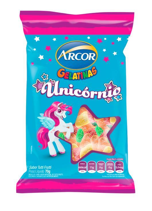 Bala gelatinas unicórnio tutti frutti  Arcor 70g - Imagem em destaque