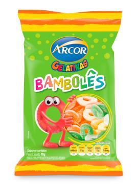 Bala gelatinas bambolês sortidos Arcor 70g