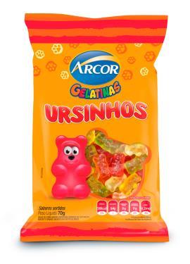 Bala gelatinas ursinhos sortidos Arcor 70g