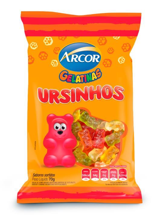 Bala gelatinas ursinhos sortidos Arcor 70g - Imagem em destaque