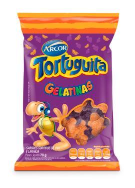 Bala gelatinas uva e laranja Tortuguita Arcor 70g