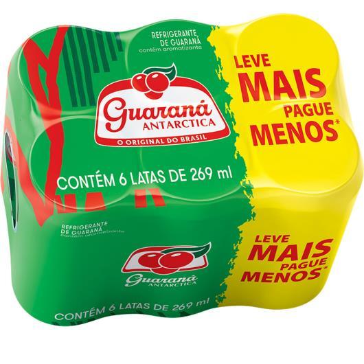 Refrigerante Antárctica Guaraná lata 6 unidades de 269ml cada - Imagem em destaque