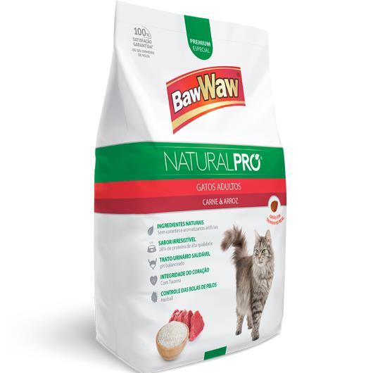 Alimento para Gatos adulto carne e arroz Natural Pró Baw Waw 1kg - Imagem em destaque