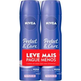 2 Desodorantes protect & care Nivea aerossol Leve mais Pague menos 300ml