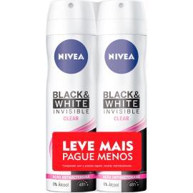 2 Desodorantes invisible black & white Nivea aerossol Leve Mais Pague menos 300ml