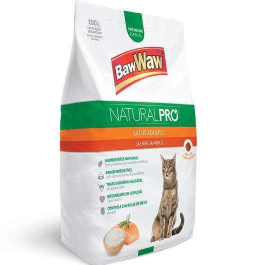 Alimento para gatos adultos salmão e arroz Natural Pró Baw Waw 500g - Imagem em destaque