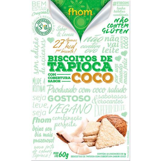Biscoito de tapioca cobertura sabor coco Fhom 60g - Imagem em destaque