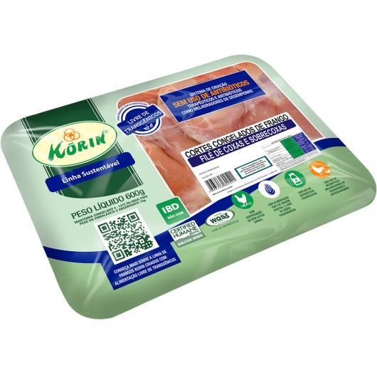 Filé de Coxas e Sobrecoxas Frango sem pele congelado Korin 600g - Imagem em destaque