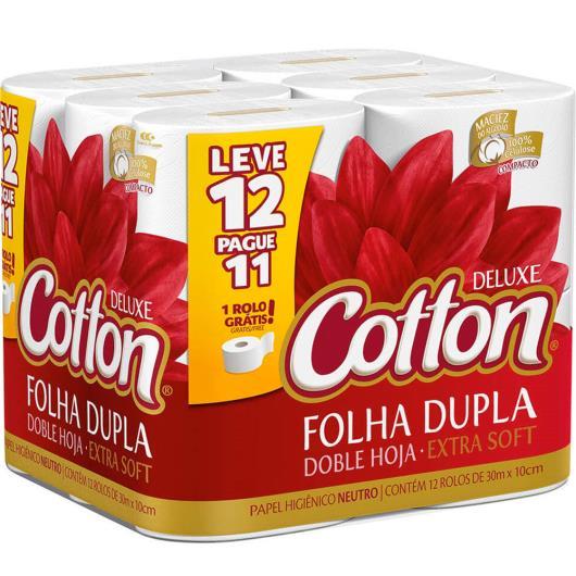 Papel Higiênico folha dupla neutro 30m L12P11 Deluxe Cotton unidade - Imagem em destaque