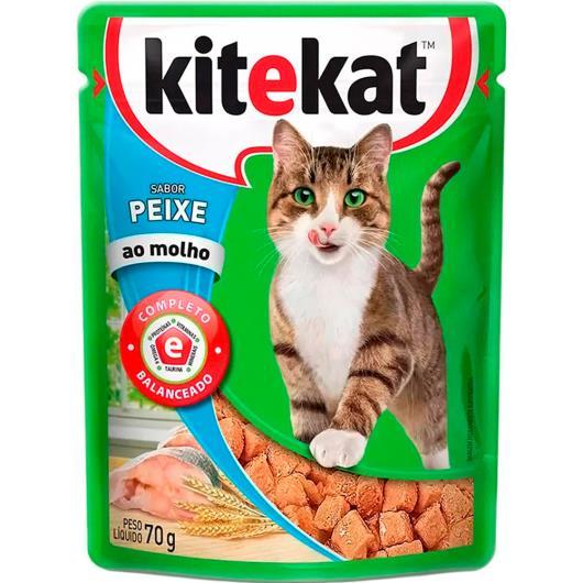 Alimento para gatos KiteKat adulto sabor peixe ao molho 70g - Imagem em destaque