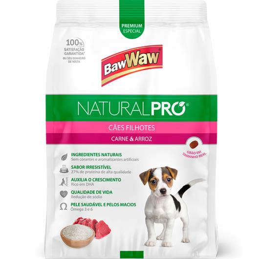 Alimento para cães filhotes Baw Waw Natural Pró carne e arroz 1kg - Imagem em destaque