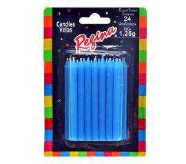 Vela Regina palito azul com 24 unidades