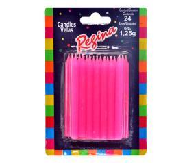 Vela  palito rosa Regina com 24 unidades