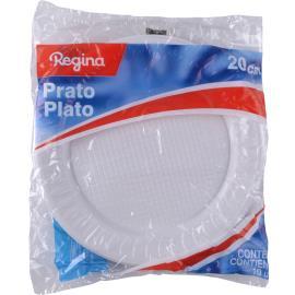 Prato de plástico Regina branco  20 cm 10 unidades
