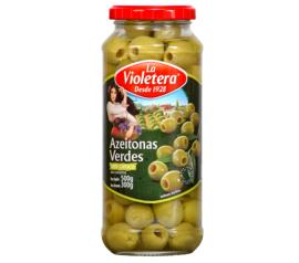 Azeitona La Violetera verde sem caroço 300g