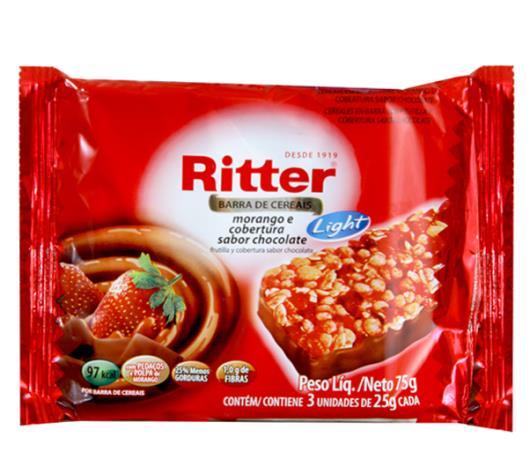 Barra de cereais Ritter sabor morango light 75g - Imagem em destaque
