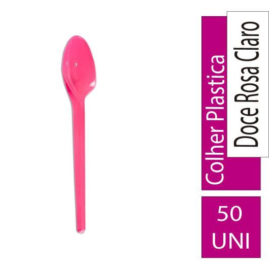 Colher Confesta Plástica Rosa 50un - Imagem em destaque