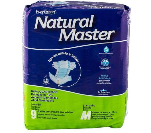 Fralda descartável Natural Master adulto tamanho médio com 9 unidades - Imagem em destaque