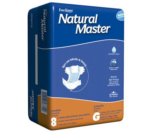 Fralda descartável adulto Natural Master tamanho grande com 8 unidades - Imagem em destaque