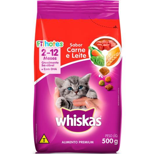 Alimento para gatos filhotes carne e leite Whiskas 500g - Imagem em destaque