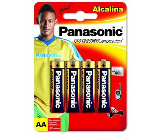 Pilha Panasonic alcalina pequena AA com 4 unidades - Imagem em destaque