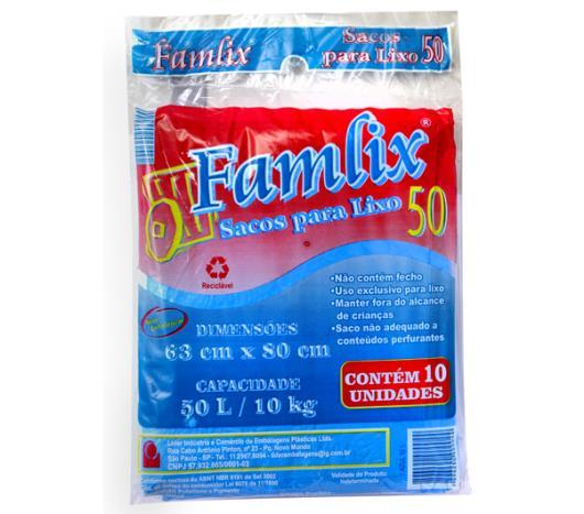 Saco de lixo Famlix azul 50 Litros - Imagem em destaque