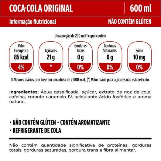 Refrigerante Coca-Cola Original PET 600ML - Imagem em destaque