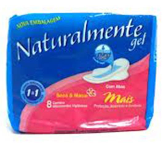 Absorvente Naturalmente gel mais com abas 1 a 1 8 unidades - Imagem em destaque