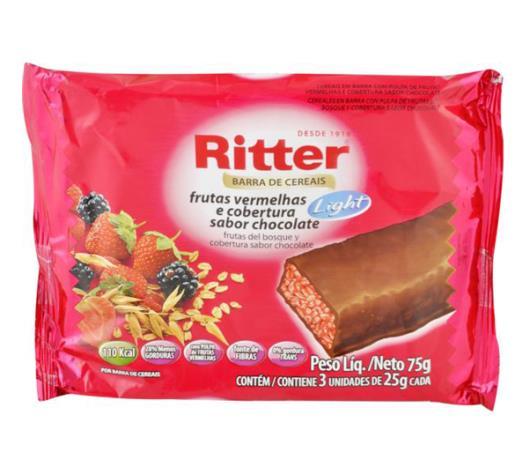 Barra de cereais Ritter sabor frutas vermelhas com chocolate light 75g - Imagem em destaque