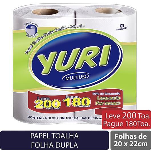Papel  toalha Yuri  2 rolos com 100 toalhas cada - Imagem em destaque