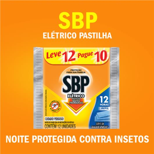Repelente SBP Elétrico Pastilha Noites Tranquilas Regular Refil Leve 12 Pague 10 Unidades - Imagem em destaque